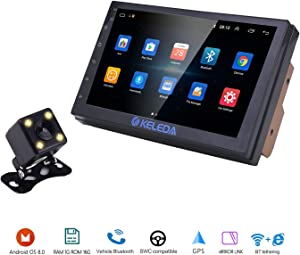 Keleda 7001 Double Din Car Stereo with Backup Camera, Auto GPS Navigation System for Android 9.1 with WiFi Bluetooth Radio Receiver 7in Touchscreen LCD Monitor,in-Dash Multimedia Video Player (1+16G)