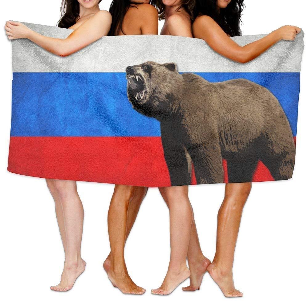 Ours Drapeau de la Russie Serviette de Bain Plage Serviette de Plage 78,7 x 137,1 cm Sport Serviette de Douche Plage HaiYI-ltd Serviette de Bain en Microfibre pour Voyage