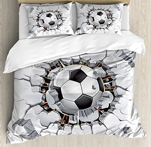 Sports Decor Queen Size Duvet Cover Set by Ambesonne, Soccer Ball and Old Plaster Wall Damage Destruction Punching Illustration, Decorative 3 Piece Bedding Set with 2 Pillow Shams -