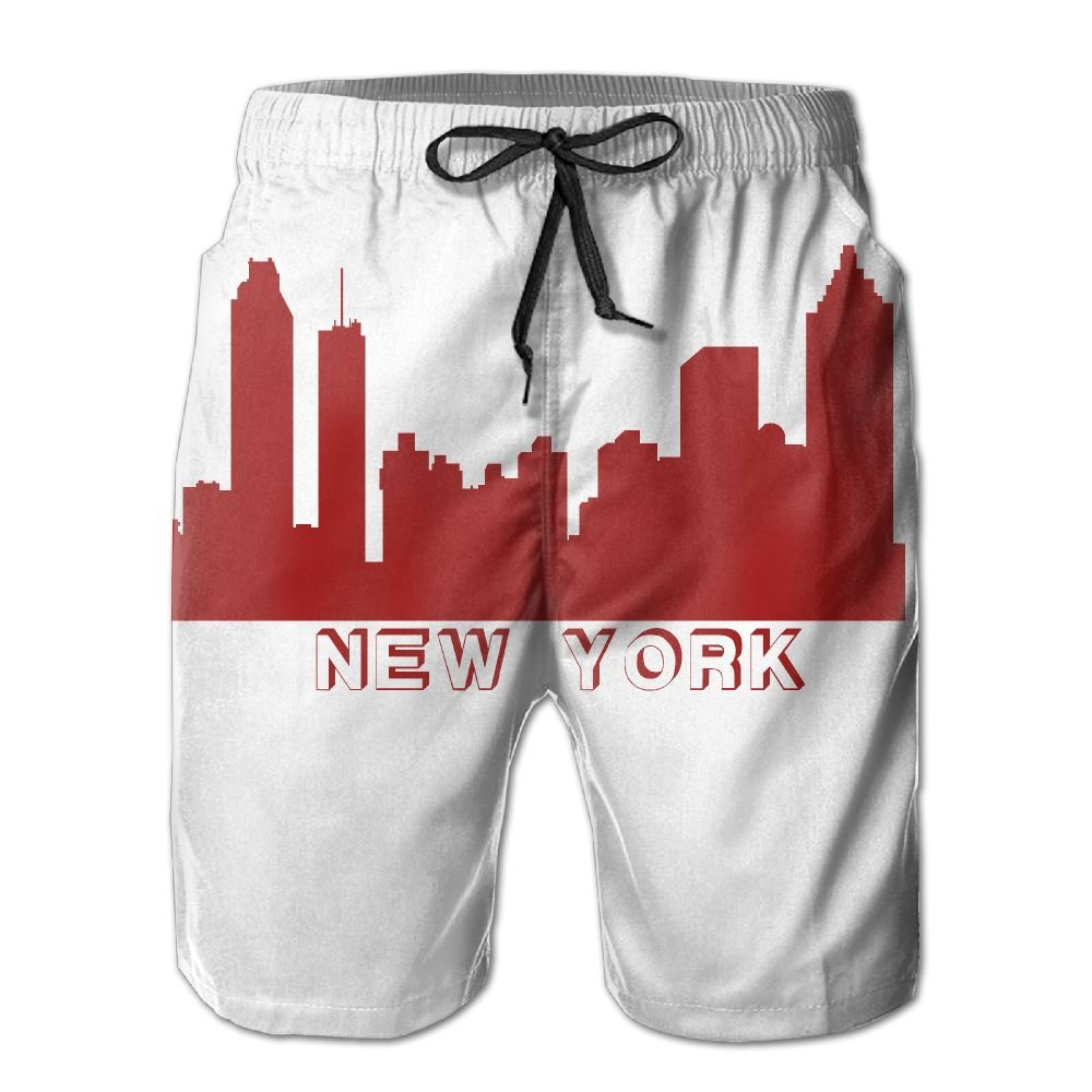 GYang Mens Beach Shorts New York Skylines Summer Printed Swim Breathable Quick-Drying Shorts Swim Trunks Boardshorts