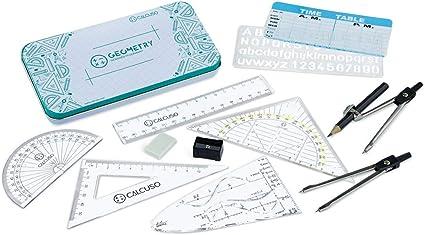 CALCUSO Set de geometría para la Escuela con compás, Regla, transportador y Mucho más en una Robusta Caja metálica de 10 Unidades: Amazon.es: Oficina y papelería