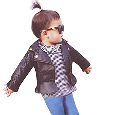fe8bbac87 Amazon.com  Perman Kids Infant Baby Faux Leather Jacket Zipper ...