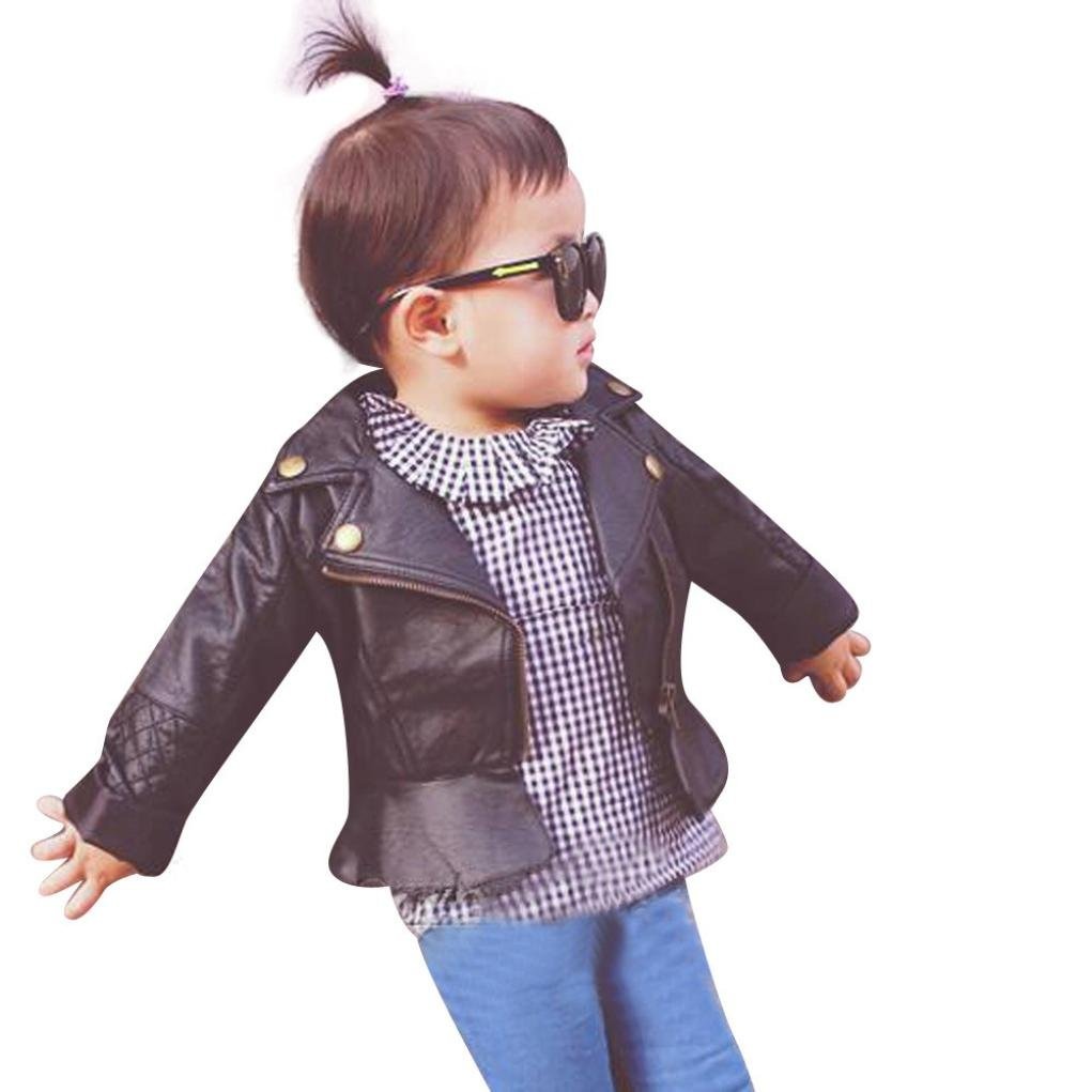 Perman Kids Infant Baby Faux Leather Jacket Zipper Hooded Coats Outwear Coat (12M, Black)