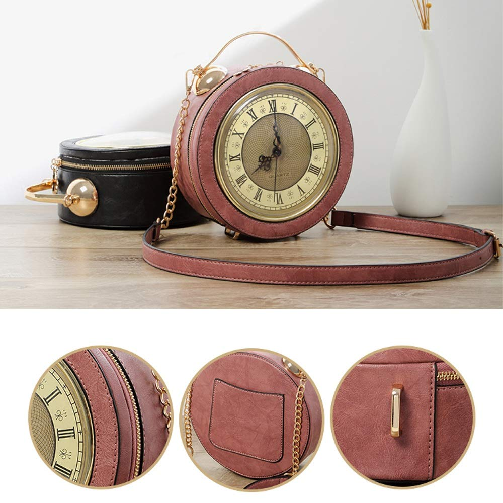 Personalized Clock Bag Mini Round Bag Shoulder Portable Messenger Bag Fashion Creative Chain Small Round Bag Shoulder Bags Shoulder Bag 3 Colors Optional PU Color : Black