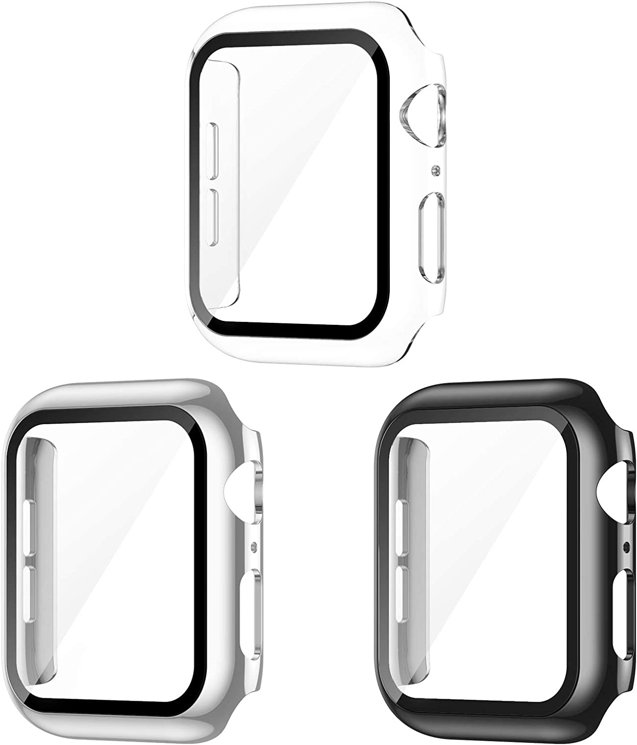 AVIDDA 3 Pack Case with Tempered Glass Screen Protector for Apple Watch 40mm Series 6/5/4/SE, Slim Guard Bumper Full Coverage HD Ultra-Thin Cover Compatible with iWatch 40mm