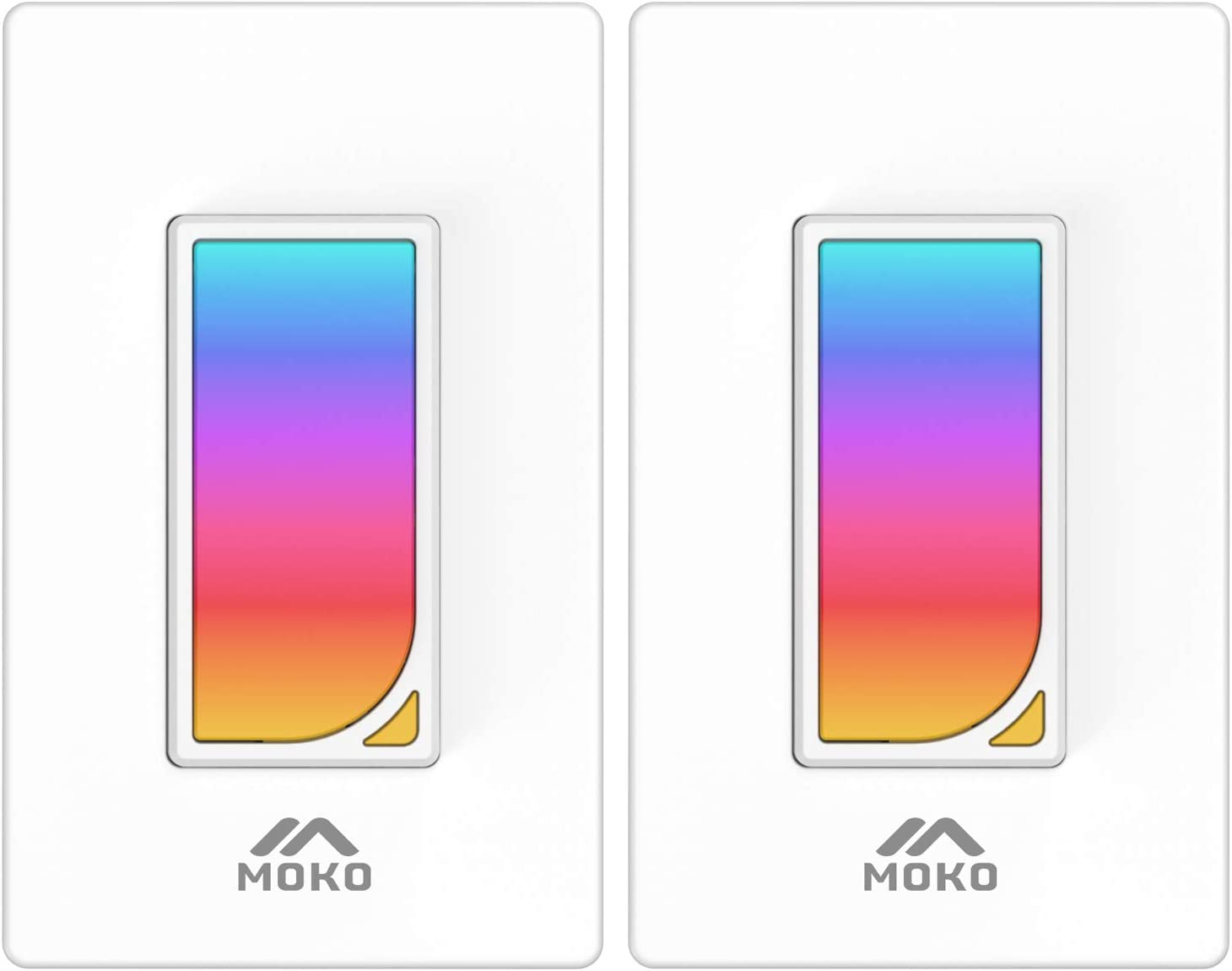 MoKo Smart Switch, 2 Pack WiFi Light Switch with Built-in RGB Dimmer Night Light, Remote/Voice Control, Work with Alexa/Google Home/SmartThings, Timer Function, Only Supports 2.4GHz Network - White