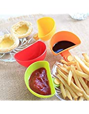 Tomato Sauce Dish Dip Clips Bowl Small Seasoning Dish Plastic Flavored Dish for Salt Vinegar Sugar Flavor Spices Pack of 4