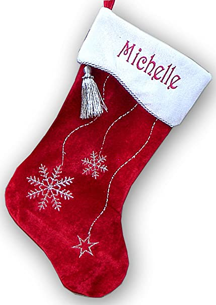 red white velvet personalized christmas stocking bling snowflake