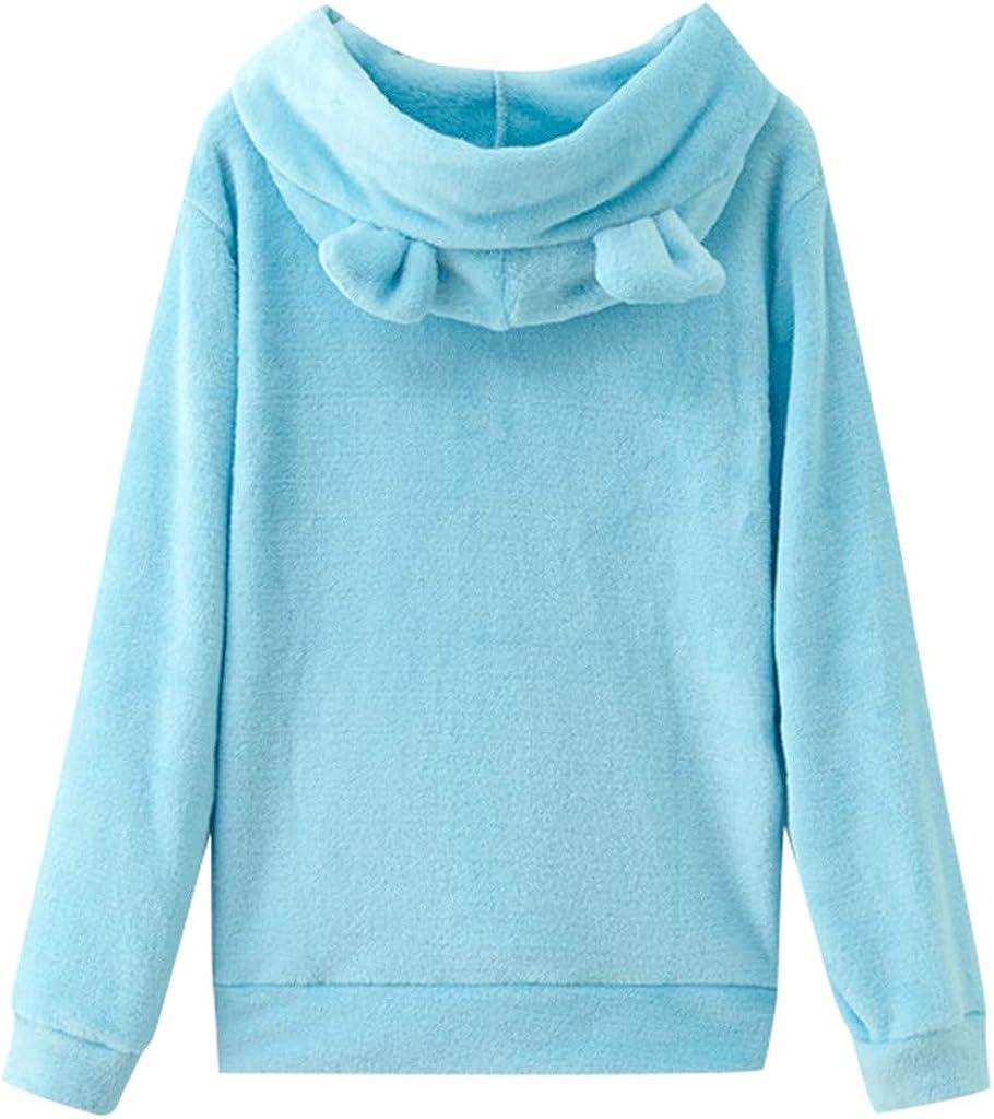 Womens Hoodie Pullover Hessimy Women Girl Hoodies Cute Cat Ear Novelty Printed Pullover Sweatshirt
