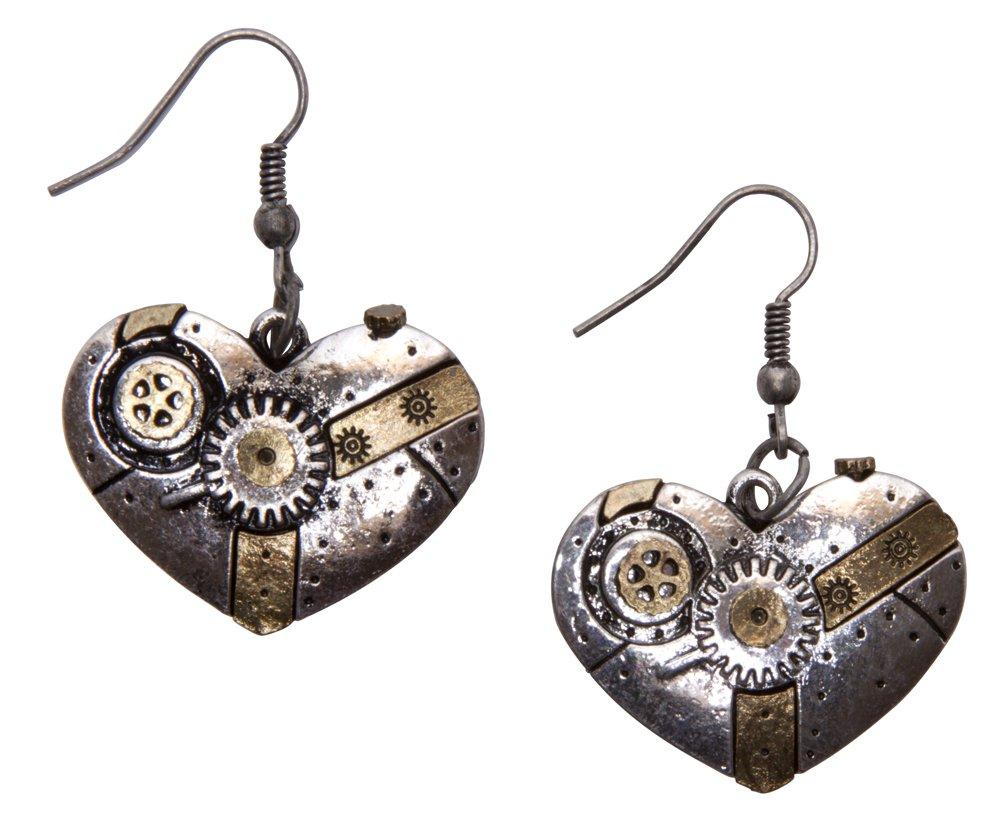 Steampunk Earrings - Gear Machine Heart 3