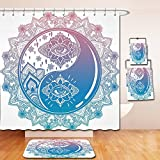 Nalahome Bath Suit: Showercurtain Bathrug Bathtowel Handtowel Ying Yang Decor Mandala Round Ombre Pattern with Yin Yang Third Eye Cultural Zen Decor Mystic Asian Art Pink Blue