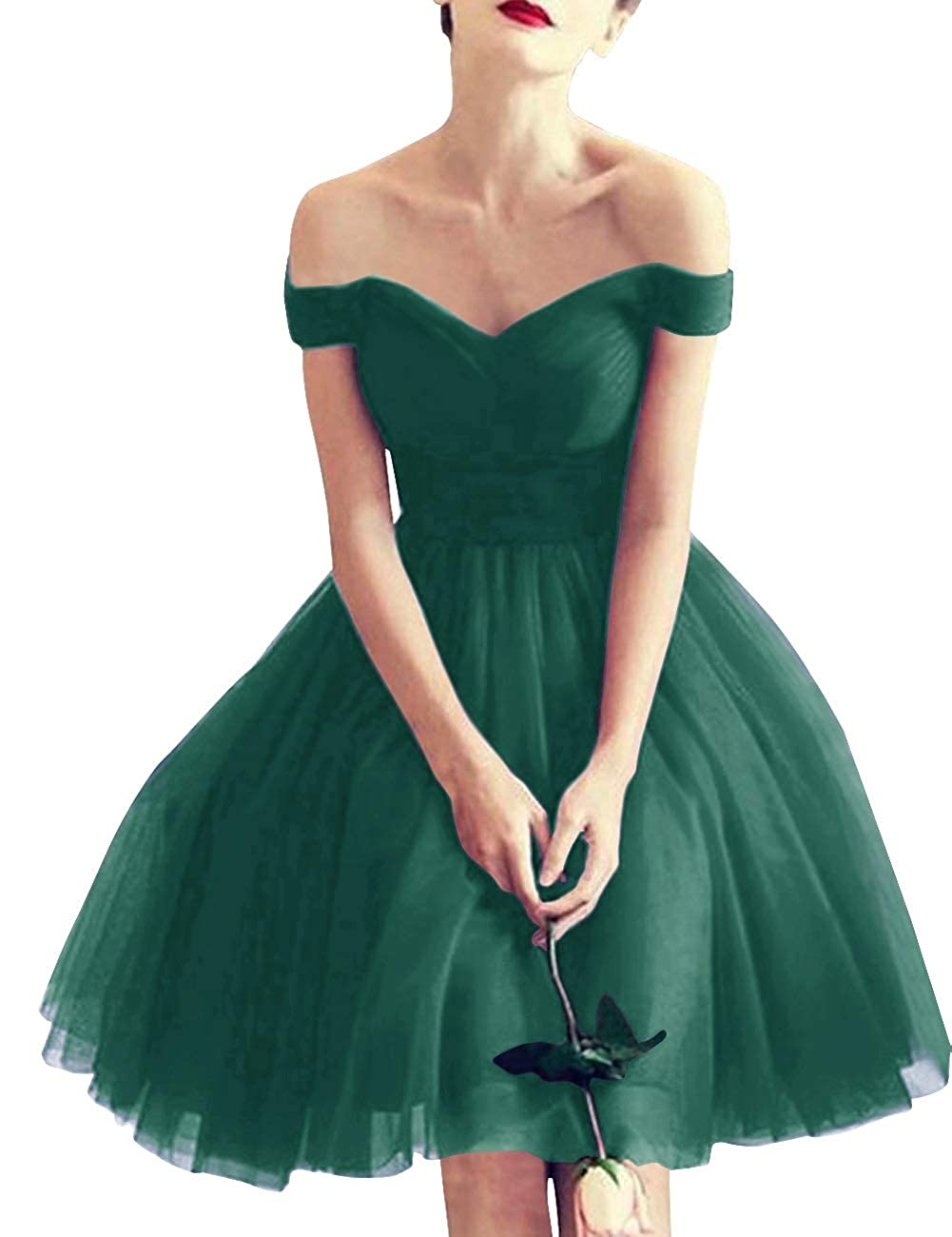 Dark Green MorySong Women Off Shoulder LaceUp Tulle Short Bridesmaid Cocktail Homecoming Dress