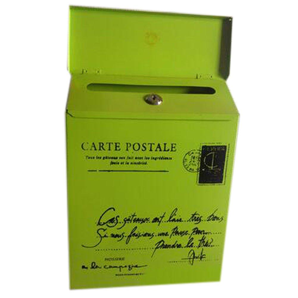 Carta Buzón de correos montado en la pared impermeable buzón con cerradura caja decorativa, Verde Pequeña Palabra con bloqueo: Amazon.es: Hogar