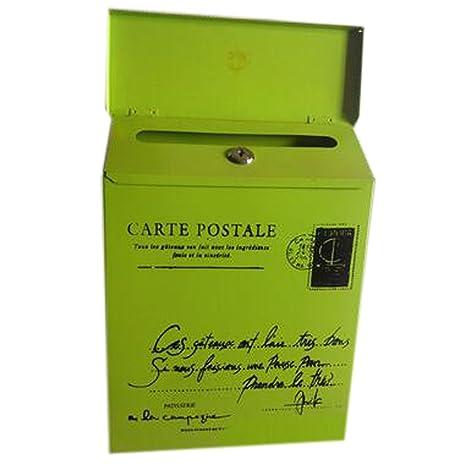 Carta Buzón de correos montado en la pared impermeable buzón con cerradura caja decorativa, Verde