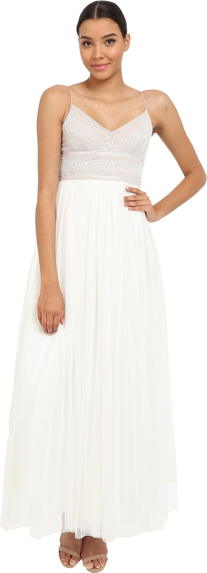 Adrianna Papell Women's Spaghetti Strap Beaded Dress Gown Dress, Ivory/Nude, 2
