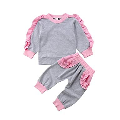 Onavy 2Pcs Infant Toddler Baby Girl Long Sleeve Ruffle Tops Shirt Sweatsuit  Pants Leggings Outfits Clothes 6e597119e30f