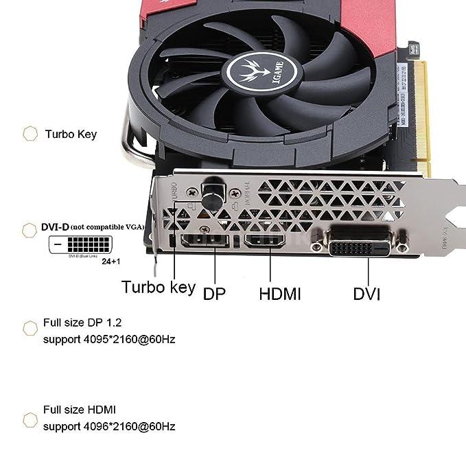 iGame 1050ti GTX graphics card GPU with 4 GB GDDR5 (RAM), 128bit Gaming Video Cards Graphics Card, PCI-E x16 3.0, Core Clock 1290 negro GTX 1050Ti 22.5 * 13 ...