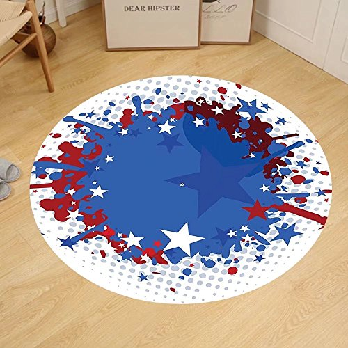 Gzhihine Custom round floor mat Sports Football Soccer Ball with Splashed Like Digital Background Image Bedroom Living Room Dorm Ruby Dark Blue White and Red by Gzhihine