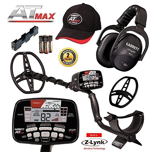 Garrett AT Max Metal Detector with Z-Lynk Wireless Headphone Plus Free (Prospecting Metal Detector Free Accessories)