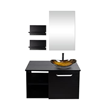 28 Inch Bathroom Vanity, Modern Lavatory Wall Mounted Wood Cabinet, With  Mirror,