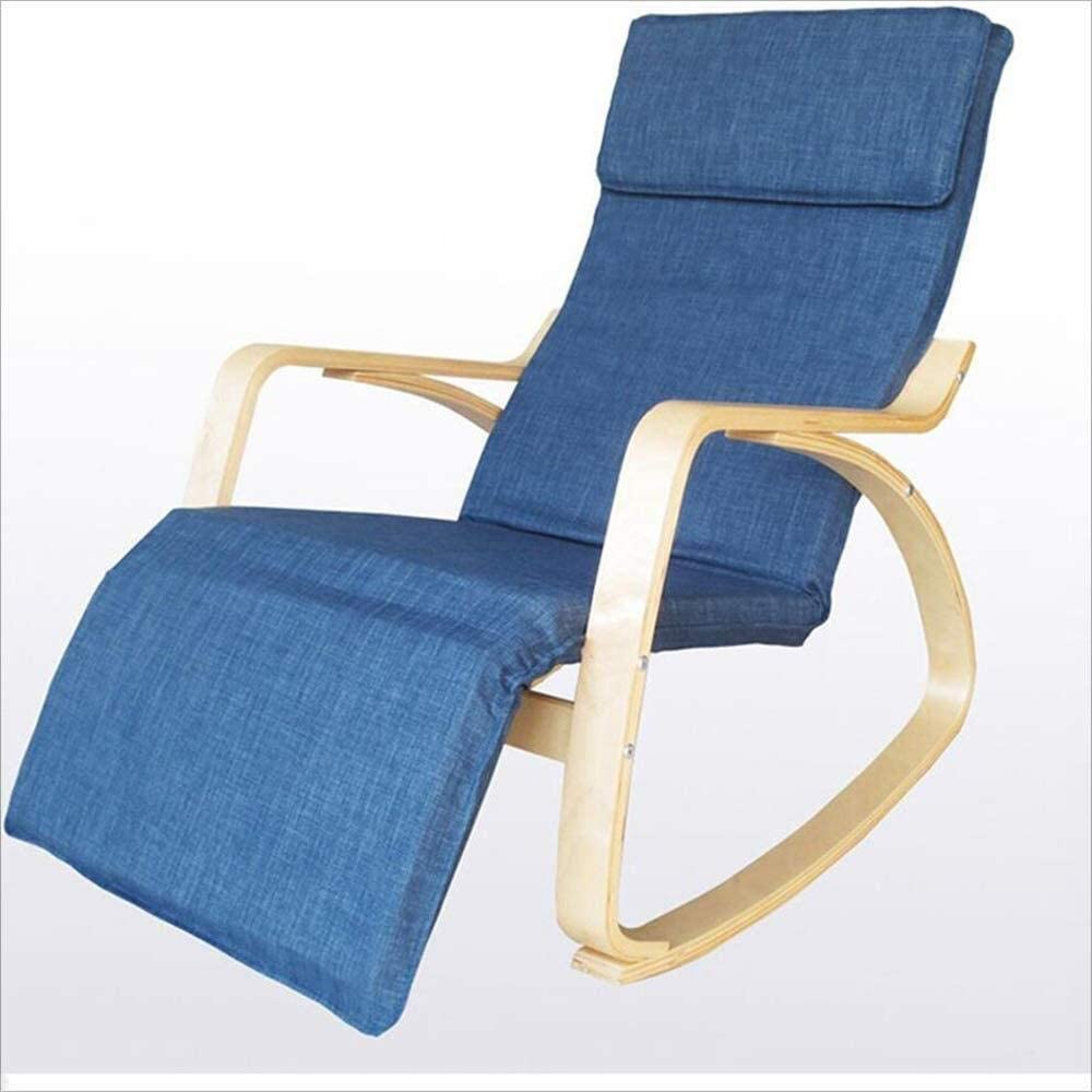 Solid Wood Lazy Rocking Chair Leisure Chair Recliner Sofa Chair Old Man Nap Chair (Color : Blue)