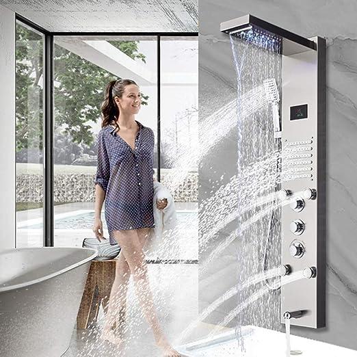 YAMEIJIA Panel de Ducha de Oro LED baño luz bañera Ducha Columna ...
