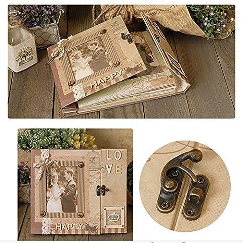 Woodmin Luxury DIY Photo Album Kit, Pocket Pages Scrapbooking Kit, Wedding Album Valentine's Gift - Wood Photo Album Book