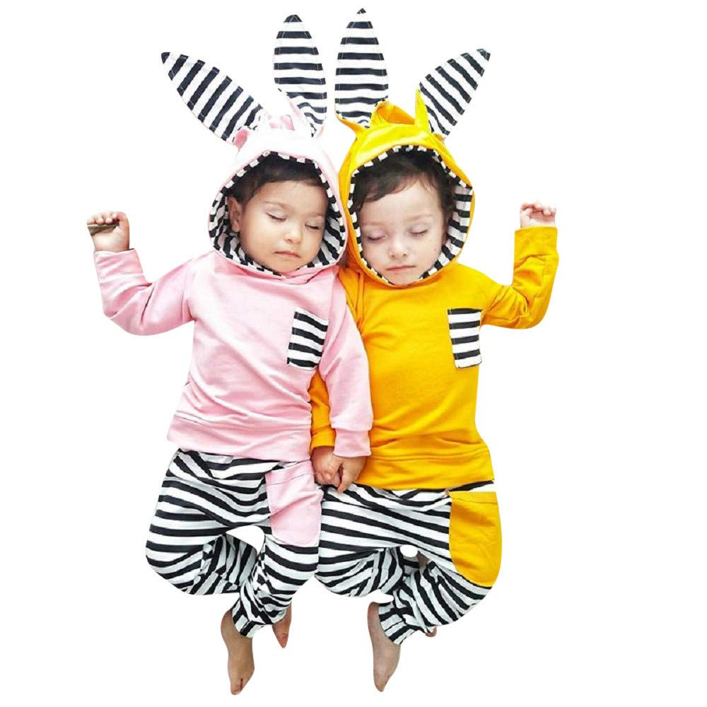 Onefa Infant Baby Boy Girl Clothes Set 3D Bunny Ear Striped Hoodie T Shirt Tops+Pants