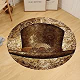 Gzhihine Custom round floor mat Victorian Decor Collection Steampunk top hat as a science fiction concept made of metal copper gears and cogs Bedroom Living Room Dorm
