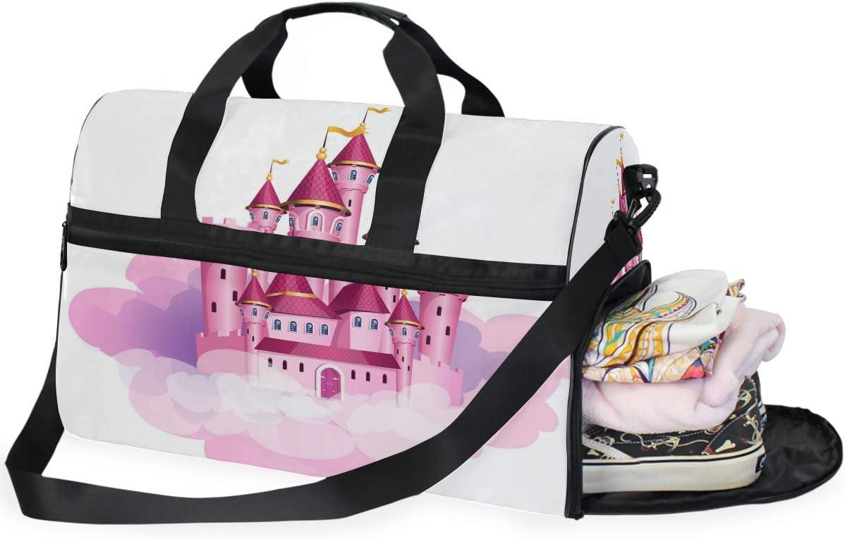 Large Duffle Bag Pink Princess Magic Castle Gym Sport Travel Weekender Bag Handbag for Women Men