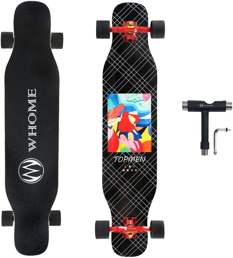WHOME PRO Dancing Longboards Complete for Adults and Beginners – 42 Inch Dancing Longboard Skateboards for Dancing Cruising Carving Freestyle 8 Layers Alpine Hard Rock Maple Deck Includes T-Tool