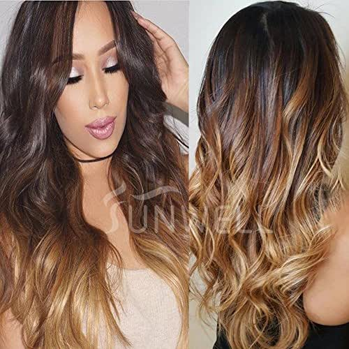 Sunwell Full Lace Human Hair Wigs with Baby Hair Virgin Brazilian Human Hair Full Lace Wigs for Women Body Wave #1B/4/27 Ombre Color 3 Tone 16inch