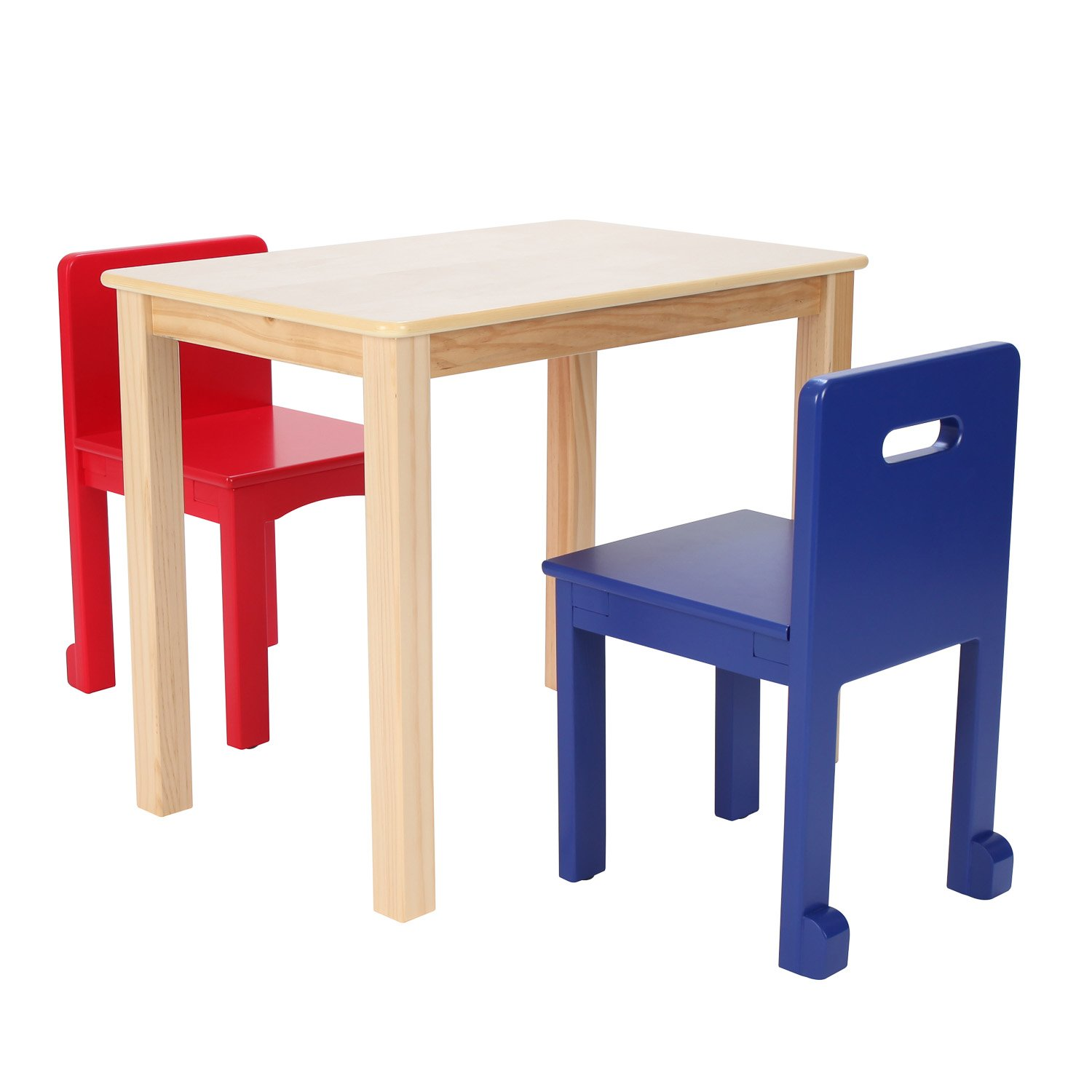 Max & Lily Natural Wood Kid and Toddler Rectangular Table +  Chairs (Blue, Red)