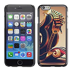 LECELL--Funda protectora / Cubierta / Piel For Apple iPhone 6 -- Pharaoh Boat Abstract Gold Bling --