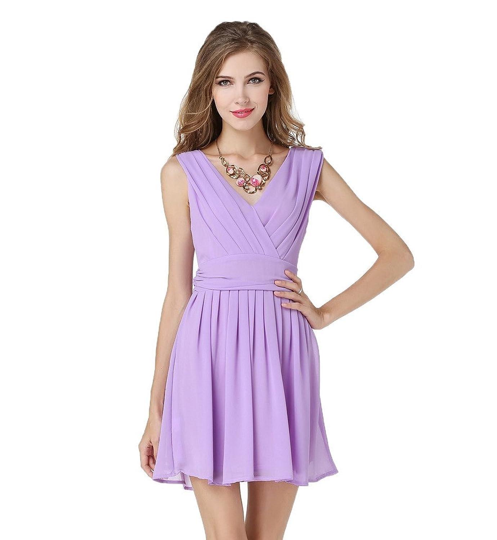 Miuk Women's Chiffon Dress Sleeveless Deep V Neck Sexy Pleated Party Dresses