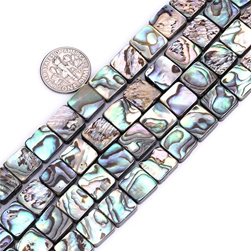 10mm Flat Square Natural abalone Shell Beads Semi Precious Gemstone Beads for Jewelry Making Strand 15 Inch (39pcs)