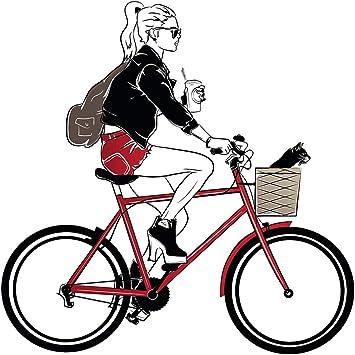 dekodino® Pegatina de pared modelar mujer con bicicleta y gato decoración: Amazon.es: Bricolaje y herramientas
