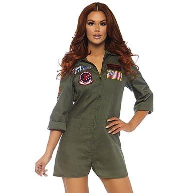 Amazon Com Leg Avenue Women S Top Gun Licensed Romper Flight Suit