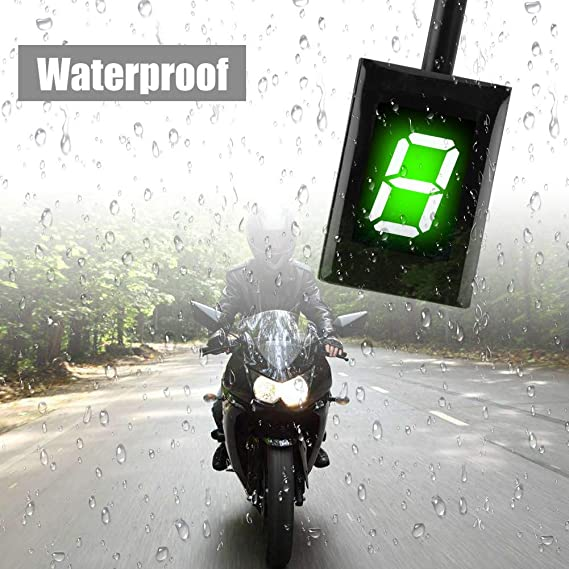 Fydun Luz Indicador de Engranaje Digital de Motocicleta 6 Velocidad Sensor de Palancas de Cambio Enchufe de la ECU Impermeable Pantalla LED Verde