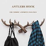 "AOTOSOLO 20"" Vintage Rustic Deer Antlers Wall Hook, Coat Hook, Decorative Coat Rack, Storage Furniture Coat Wall Hook Home Hanger for Coat/Keys/Hats/Purse/Bag/Jewelry/Towel - Screws Included"