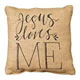 Country House Collection Primitive Inspirational Burlap Jute 8'' x 8'' Throw Pillow (Jesus Loves Me)