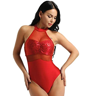 7e1512eb09 iEFiEL Adult Women Sleeveless Halter Neck Sequins Ballet Dance Leotard  Gymnastic Camisole Bodysuit Costume Red X