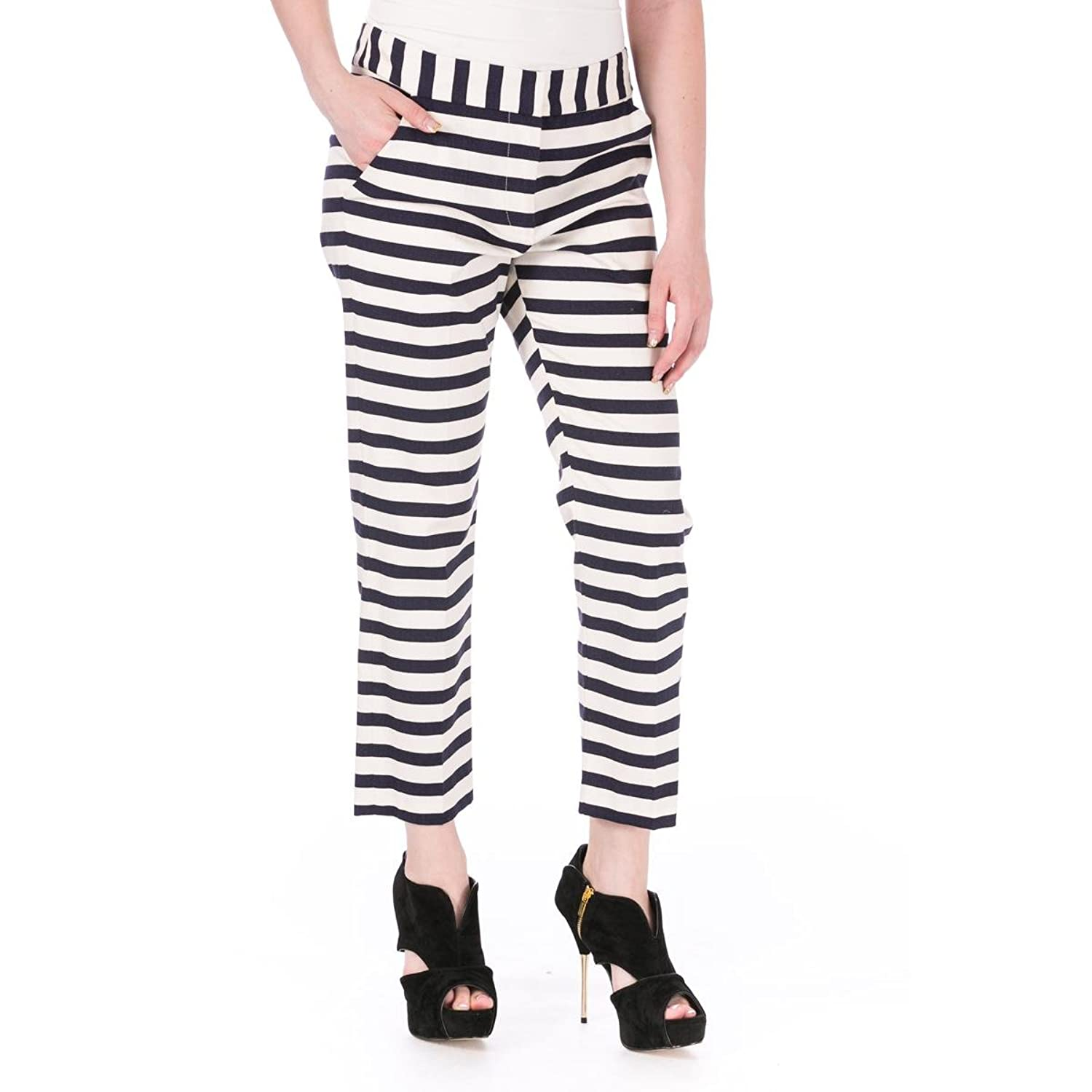 Harvey Faircloth Womens Cotton Striped Cropped Pants