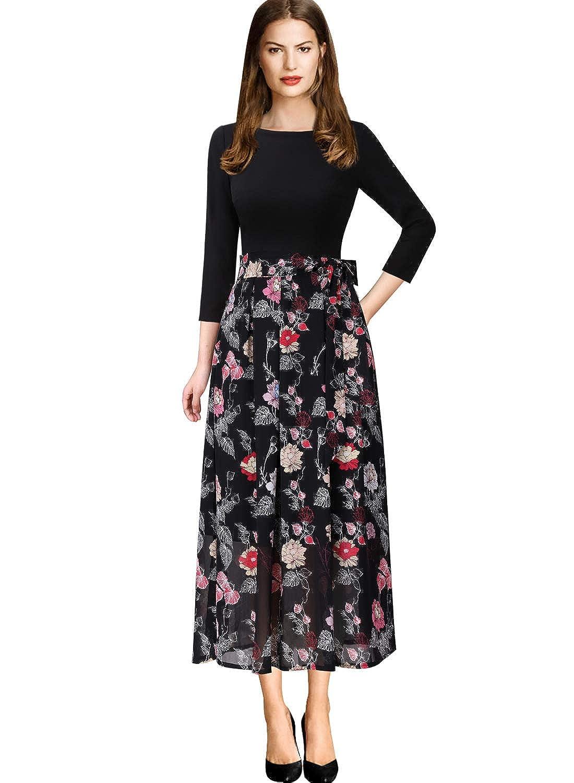 Black+multi Floral Print 4 VfEmage Womens Vintage Summer Polka Dot Wear To Work Casual Aline Dress