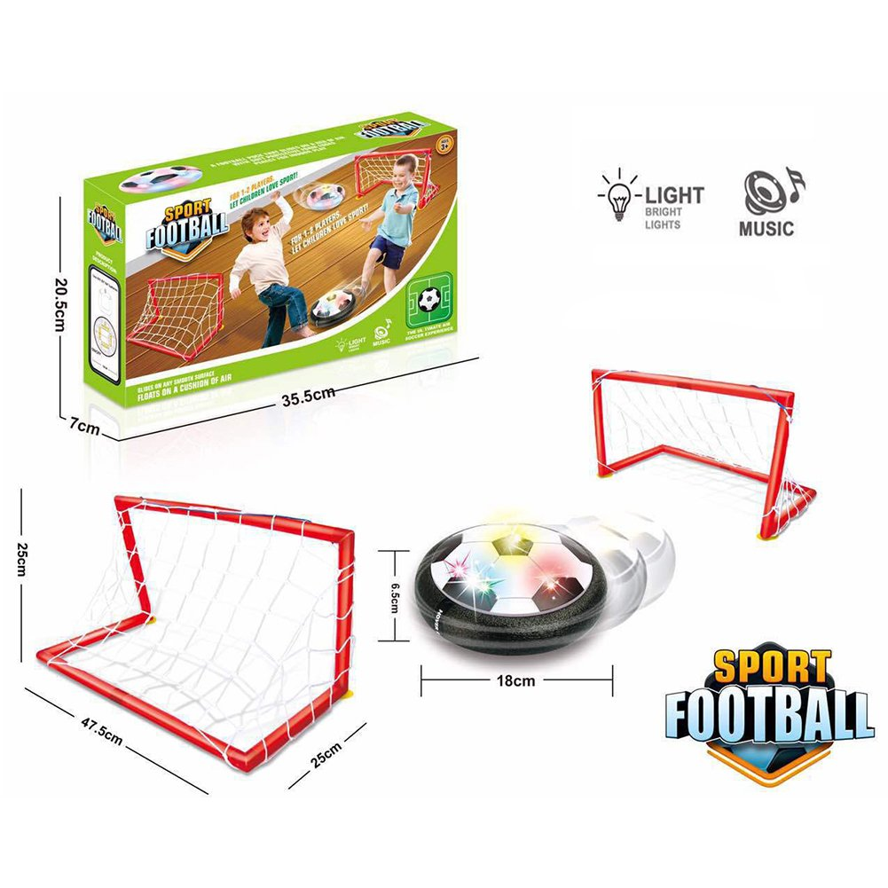Air Power Soccer Disc with 2 Gates Set Hover Soccer Football with LED Light Foam Bumpers and Music for Kids B07CLZYQ6N