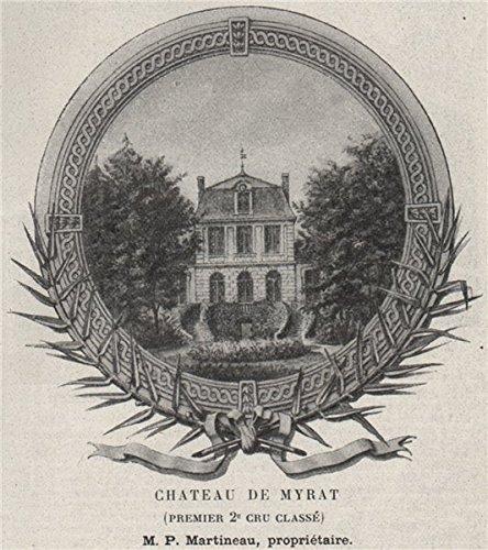 Vin Grand Cru - GRANDS VINS BLANCS. BARSAC. Chateau de Myrat (Premier 2e Cru Classé). SMALL - 1908 - old print - antique print - vintage print - Gironde art prints