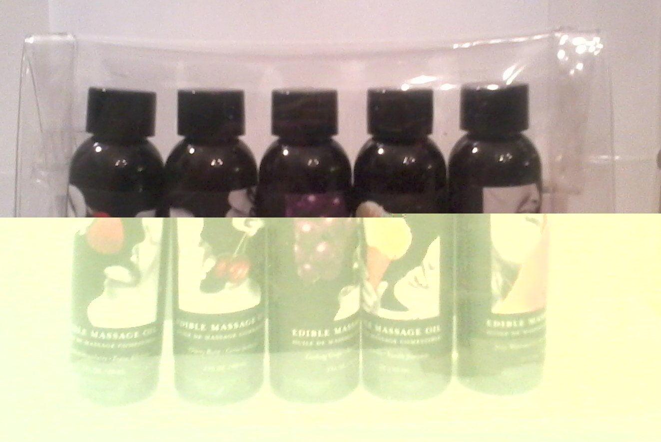 Earthly Body Hemp Seed Edible Massage and Body Oil Gift Set Travel Size [ 2 oz x 5 Bottles]