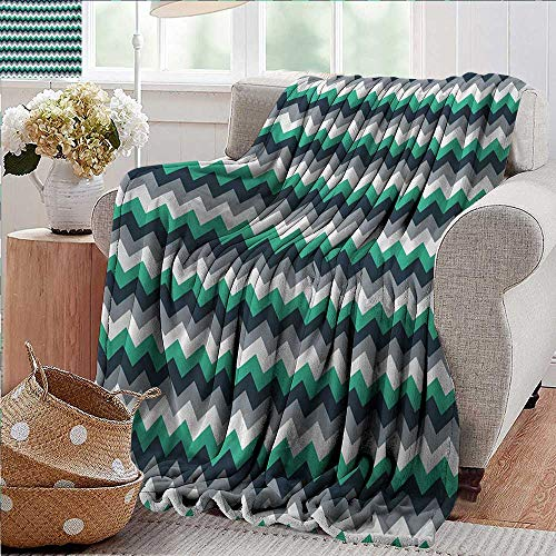(Blankets Fleece Blanket Throw,Chevron,Zig Zag Symmetric Arrows Striped Pattern in Vibrant Color Artisan Print,Jade Green Grey White,300GSM,Super Soft and Warm,Durable Throw Blanket 50