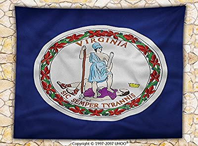 American Decor Fleece Throw Blanket Virginia Flag Latin Motto Sic Semper Tyrannis Thus Always to Tyrants Throw
