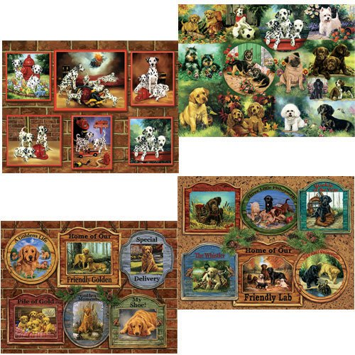 Karmin International Dog Collection 500-Piece Jigsaw Puzzle, 4-Pack by Karmin International